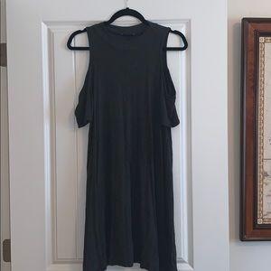 Charcoal Stretchy Short Sleeve Cold Shoulder Dress